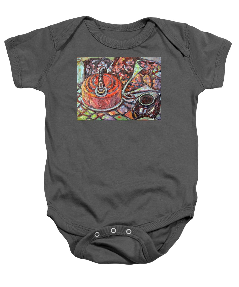 Still Life Baby Onesie featuring the painting Tea Time by Kendall Kessler