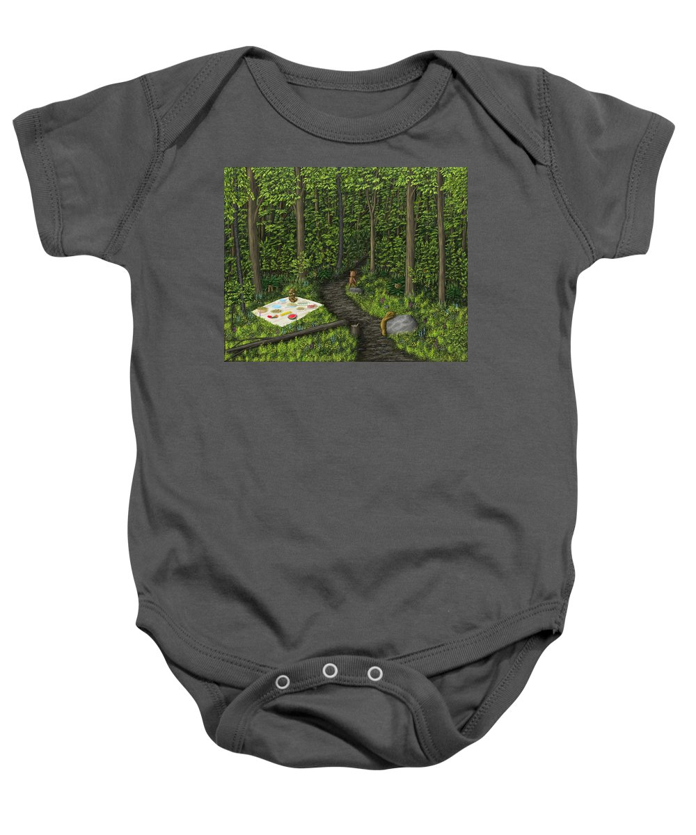 Teddy Bears Baby Onesie featuring the painting Teddy Bears' Picnic by Michelle Moroz-Chymy