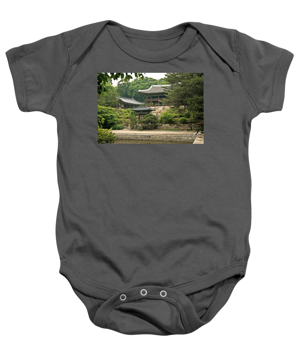 Temple Baby Onesie featuring the photograph Temple By Lake And Forest Seoul South Korea by Jacek Malipan