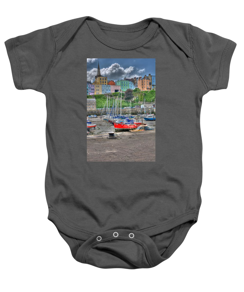 Tenby Harbour Baby Onesie featuring the photograph Tenby Harbour In Summer 4 by Steve Purnell