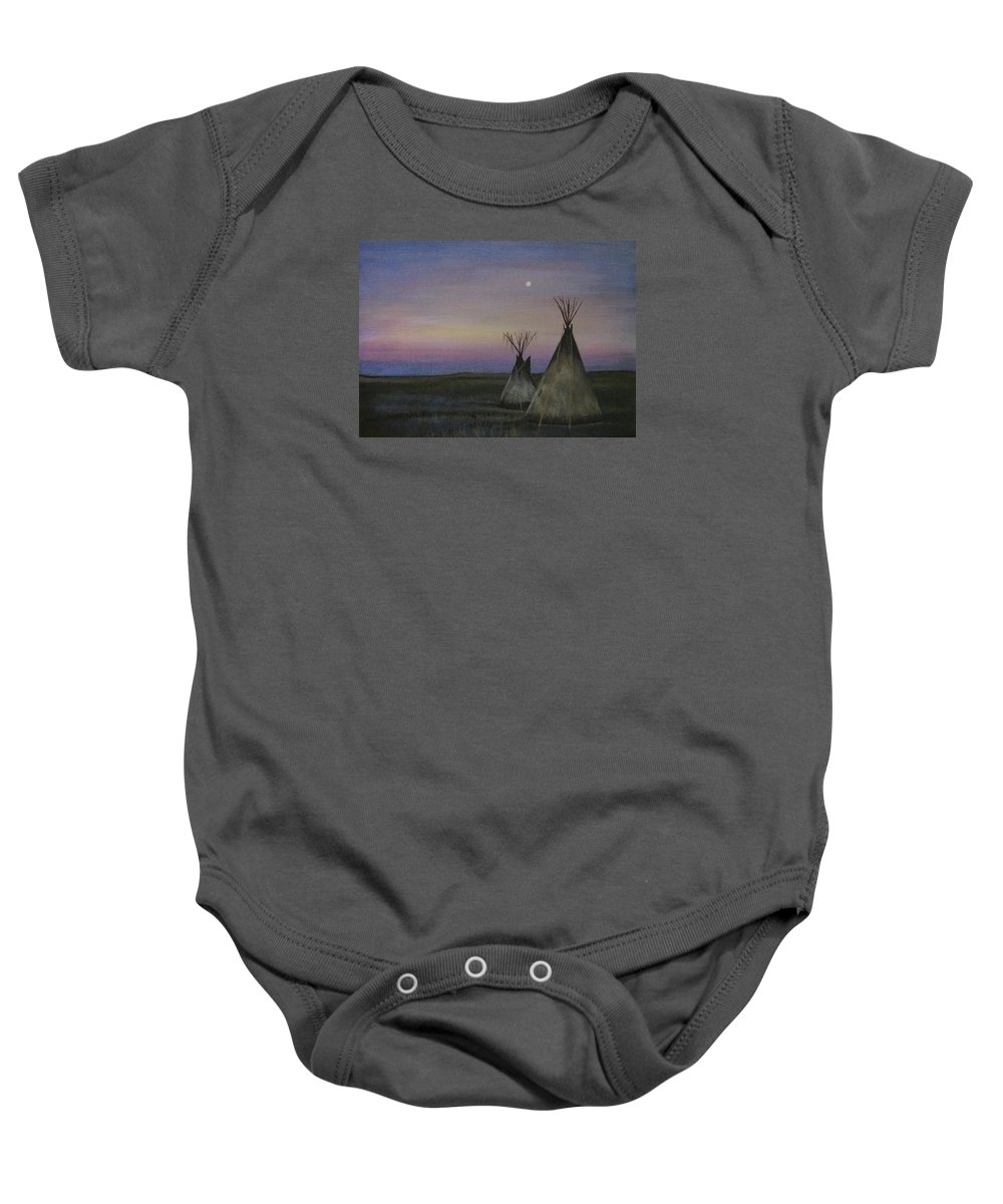 Tepee Baby Onesie featuring the painting Teepees by Lucy Deane