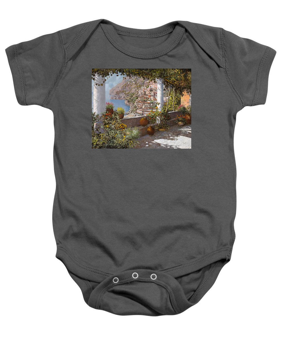Positano Baby Onesie featuring the painting terrazza a Positano by Guido Borelli