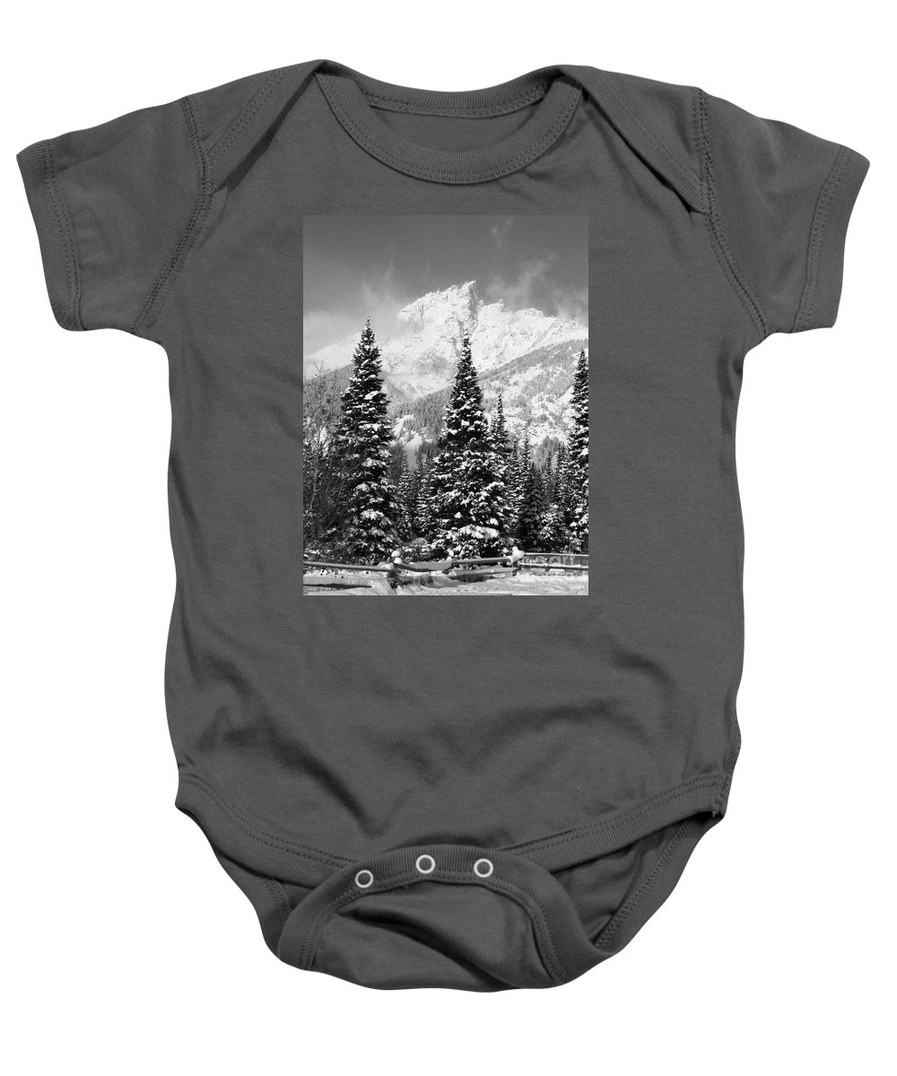 Grand Tetons Baby Onesie featuring the photograph Tetons In Snow by Deanna Cagle
