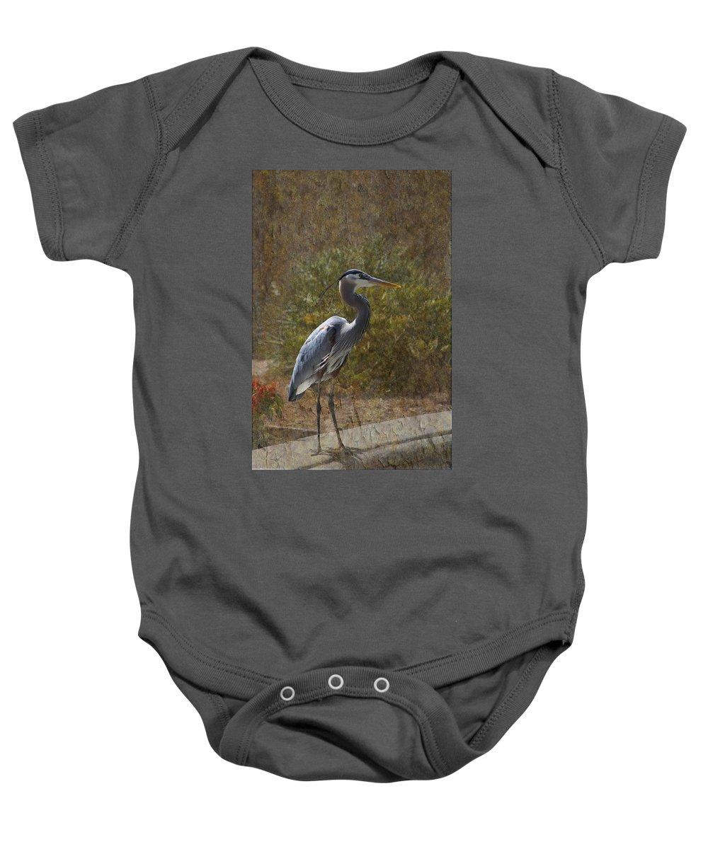 Blue Heron Baby Onesie featuring the digital art Textured Blue Heron by Paula Contreras