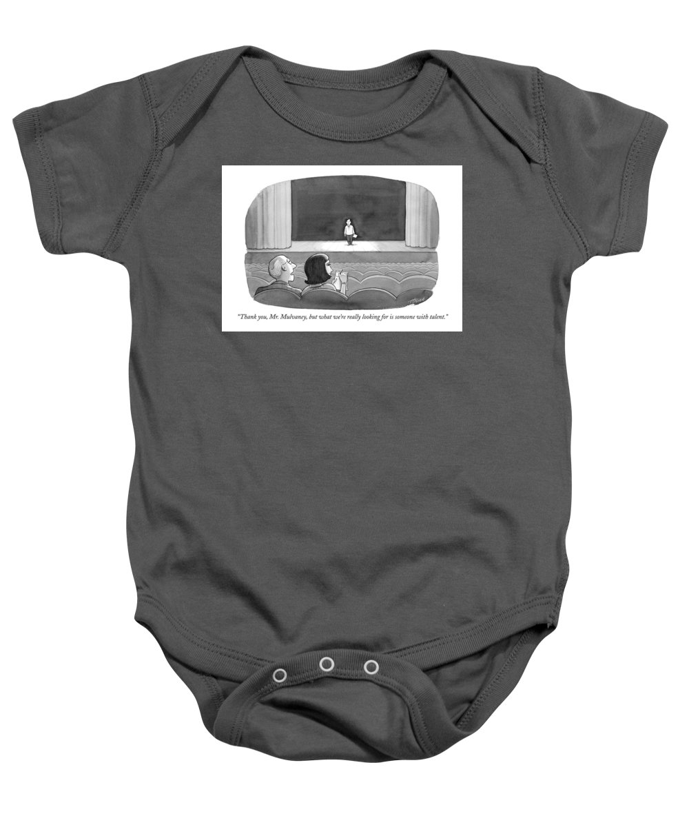Mulvaney Baby Onesie featuring the drawing Thank You, Mr. Mulvaney, But What We're Really by Harry Bliss