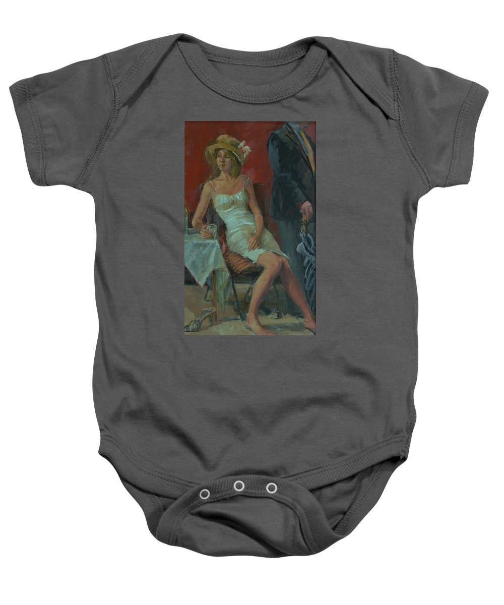 Female Baby Onesie featuring the photograph That Was A Lovely Lunch, 2008 Oil On Canvas by Pat Maclaurin
