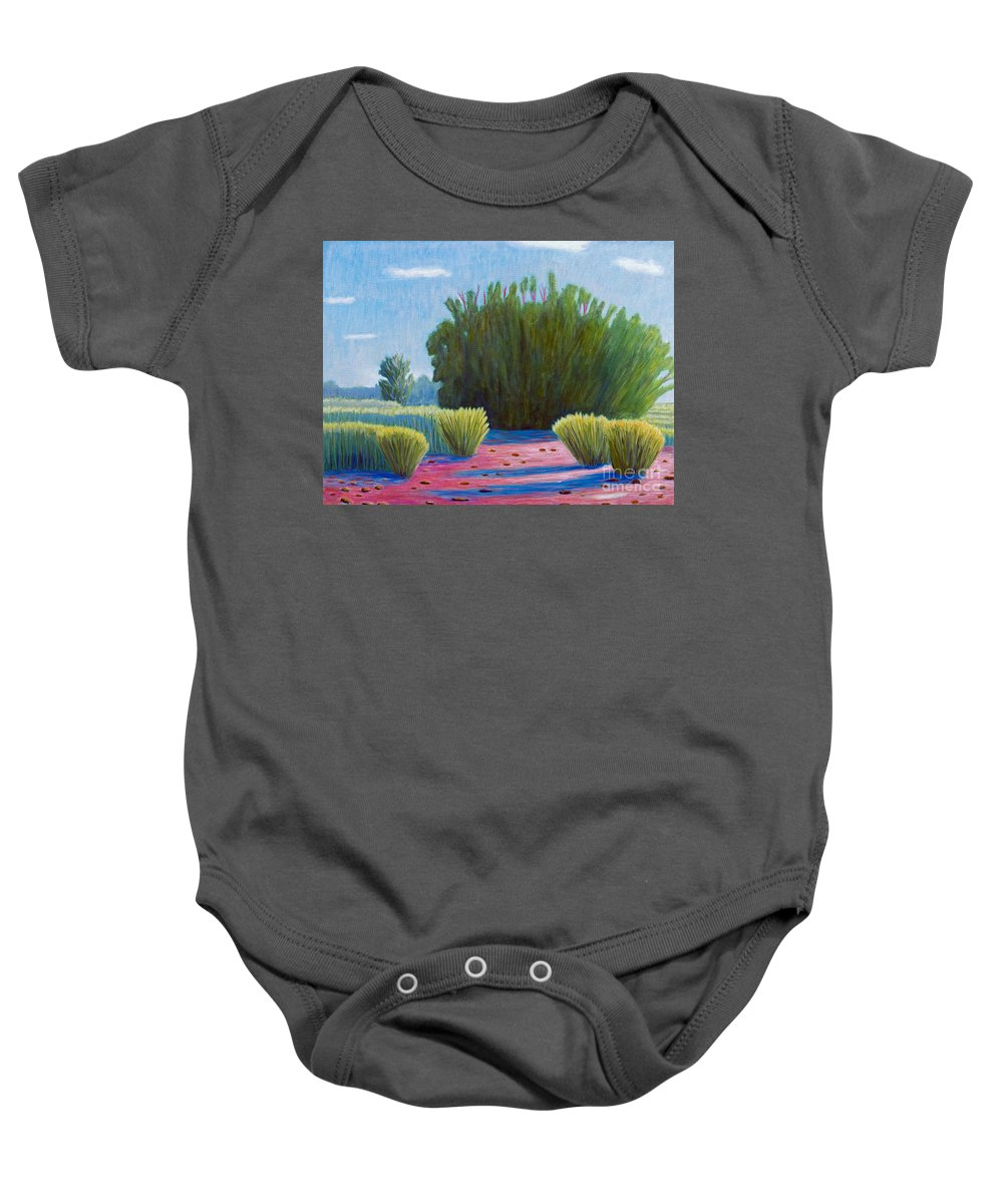 Landscape Baby Onesie featuring the painting The Arroyo by Brian Commerford