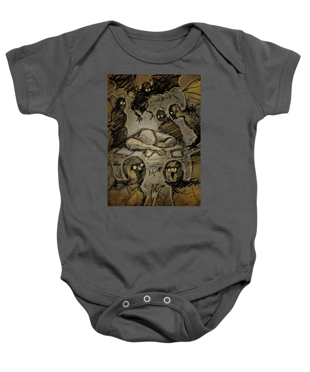 Nightmare Baby Onesie featuring the drawing The Artist's Dream by H James Hoff