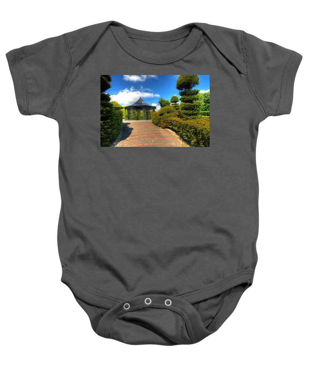 Alexandra Park Penarth Baby Onesie featuring the photograph The Bandstand by Steve Purnell