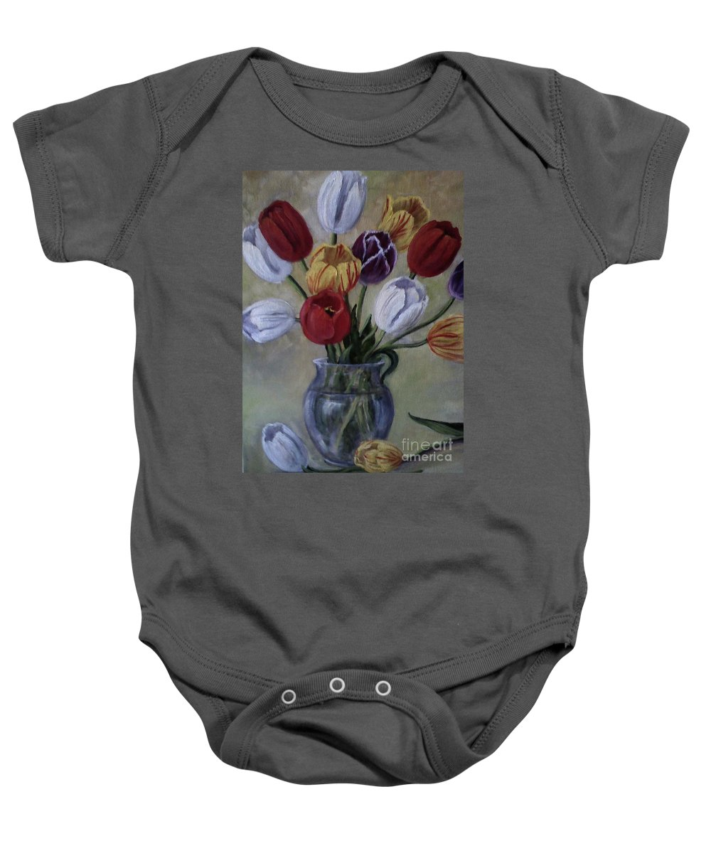 Tulips Baby Onesie featuring the painting The Banker's Tulips by Randy Burns