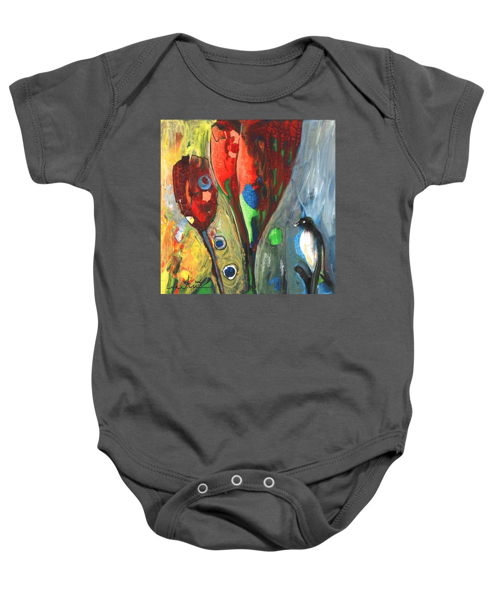 Abstract Baby Onesie featuring the painting The Bird And The Tulips by Miki De Goodaboom