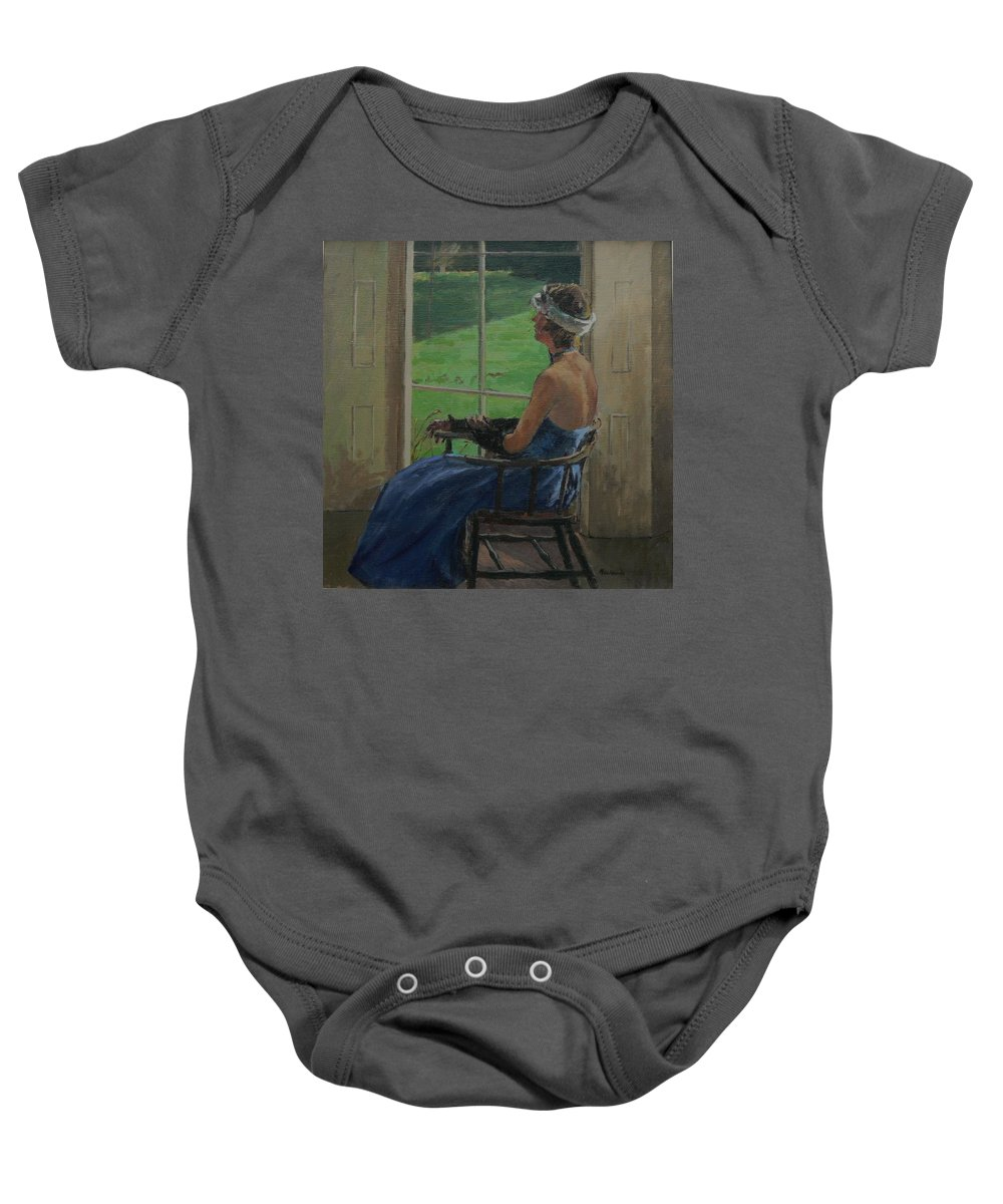 Female Baby Onesie featuring the photograph The Blue Dress, 2009 Oil On Canvas by Pat Maclaurin