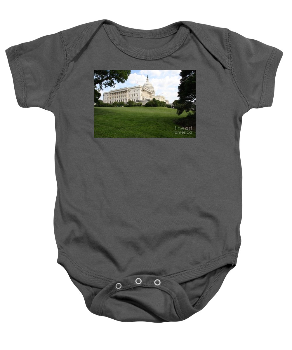 Capital Baby Onesie featuring the photograph The Capitol Hill View Washington Dc by Christiane Schulze Art And Photography