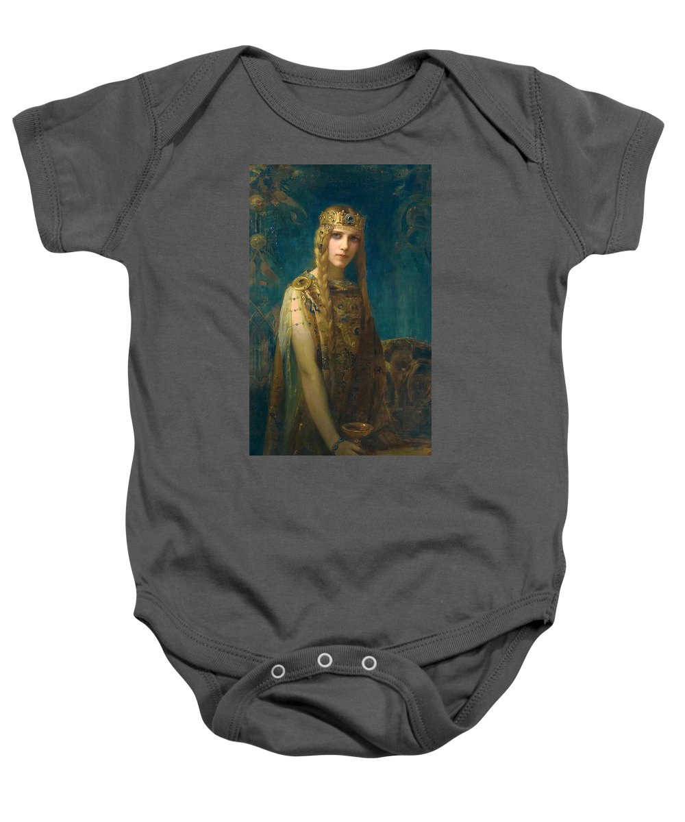 Gaston Bussiere Baby Onesie featuring the painting The Celtic Princess by Gaston Bussiere