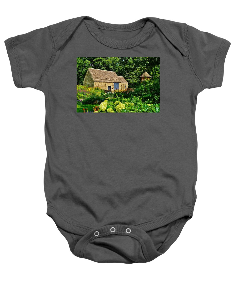 Barn Baby Onesie featuring the photograph The Cotswald Barn And Dovecove by Daniel Thompson