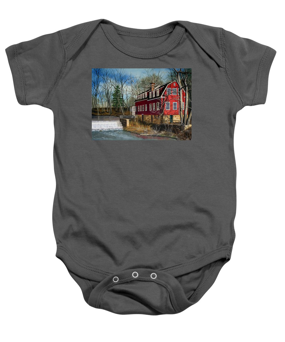 Mill Baby Onesie featuring the painting The Cranford Mill by Daniel Carvalho