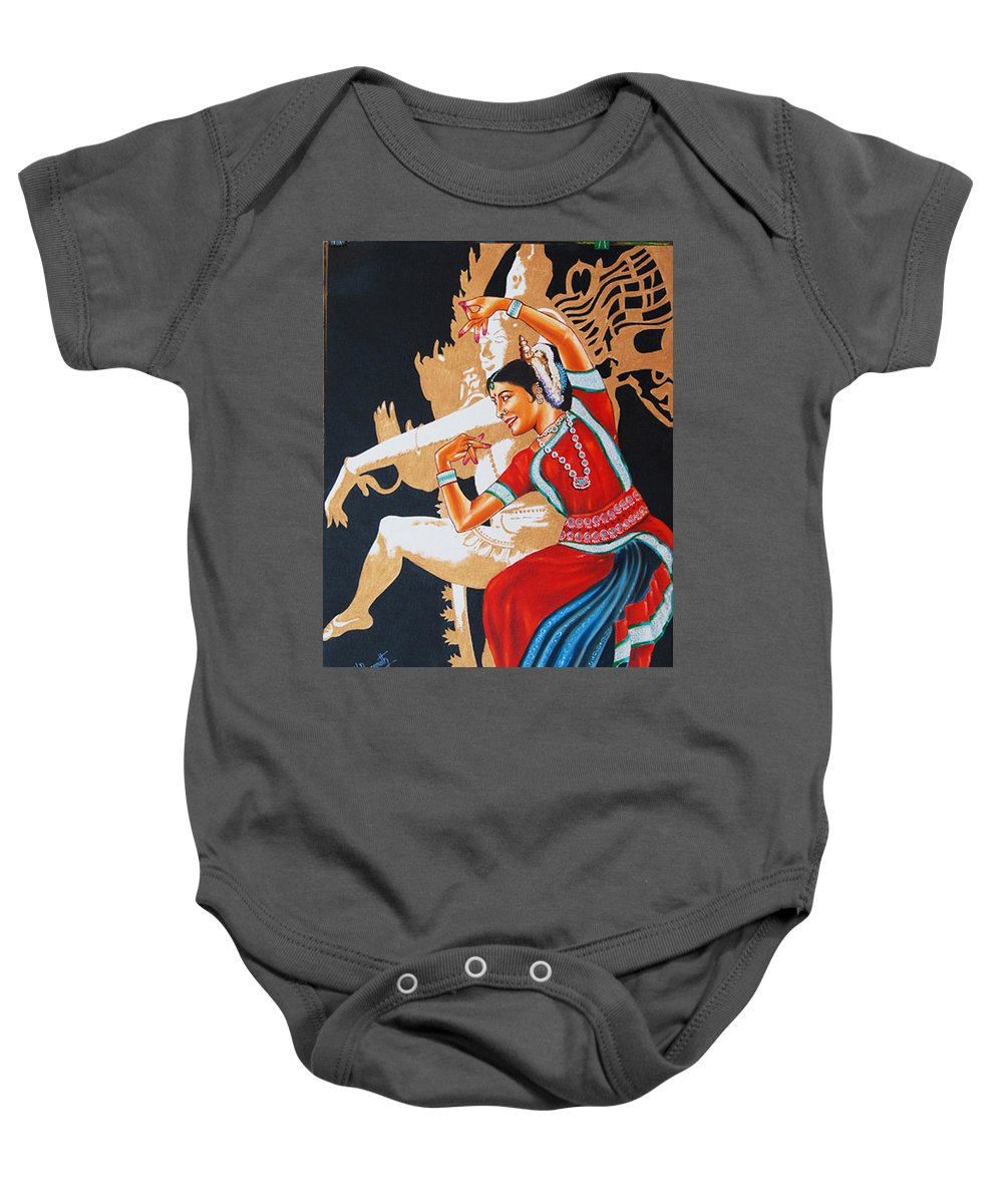 Odissi- India Baby Onesie featuring the painting The Dance Divine Of Odissi by Ragunath Venkatraman