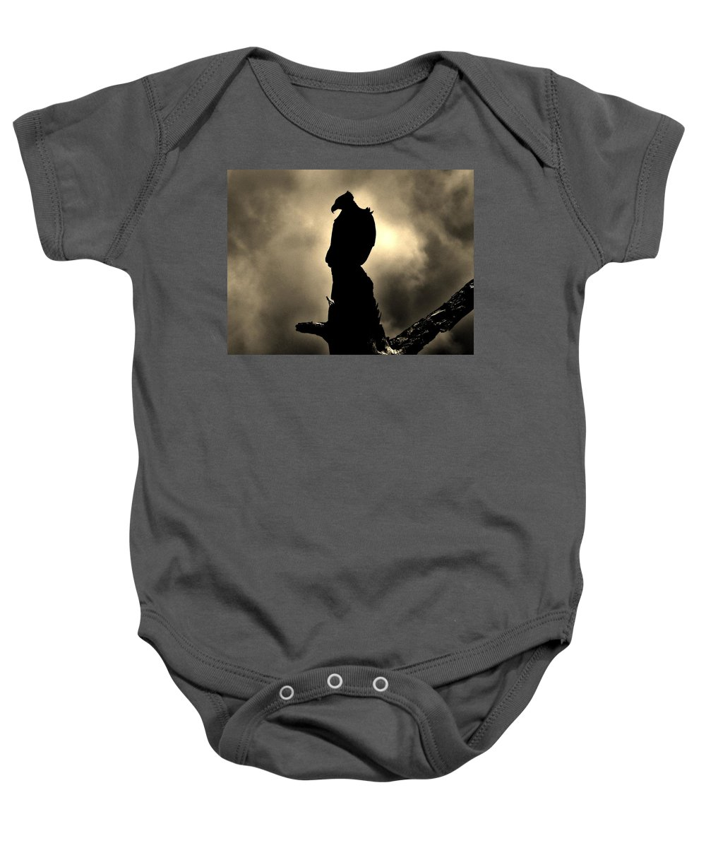 Eagle Baby Onesie featuring the photograph The Dark Knight by Bob Geary