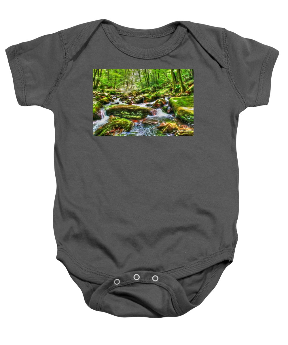 Day Baby Onesie featuring the photograph The Emerald Forest 15 by Dan Stone