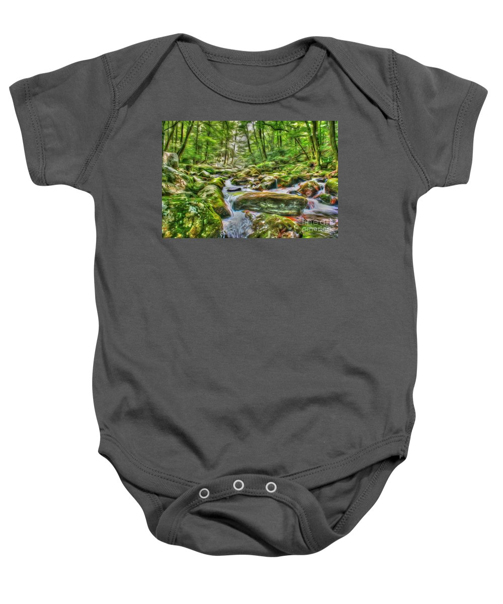 Day Baby Onesie featuring the photograph The Emerald Forest 4 by Dan Stone