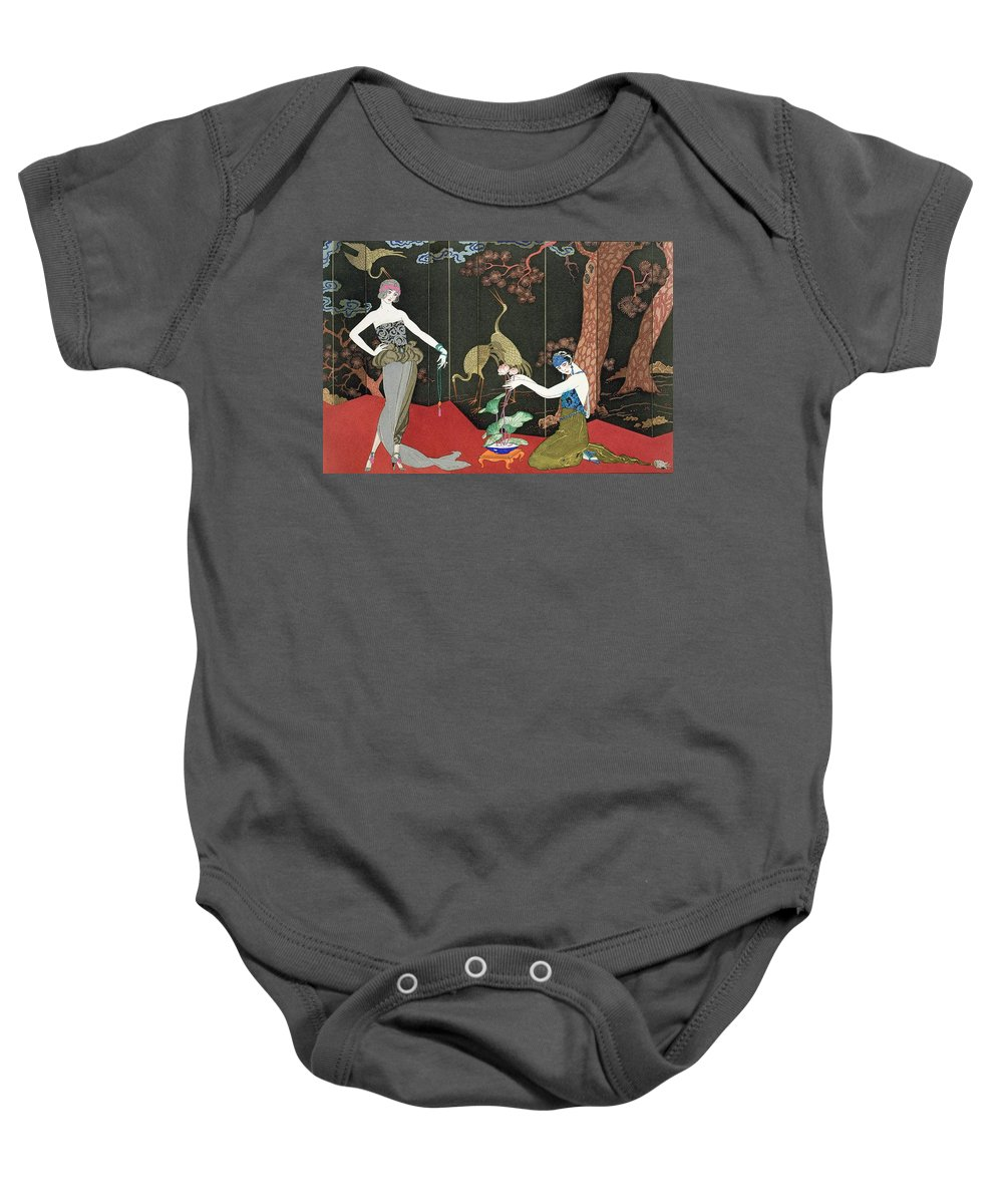 Print Baby Onesie featuring the painting The Fashion For Lacquer by Georges Barbier