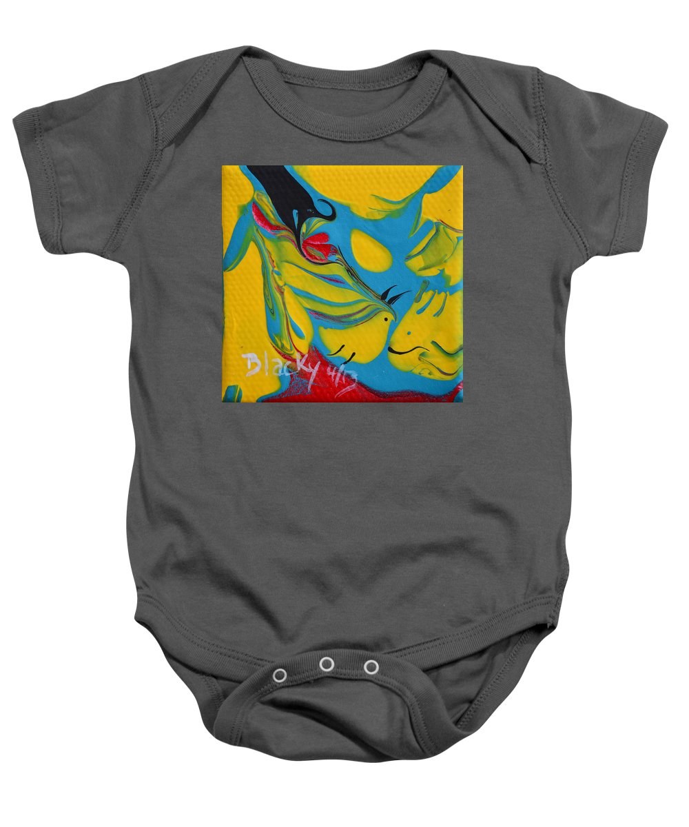 Fish Baby Onesie featuring the painting The Fish And The Bird by Donna Blackhall
