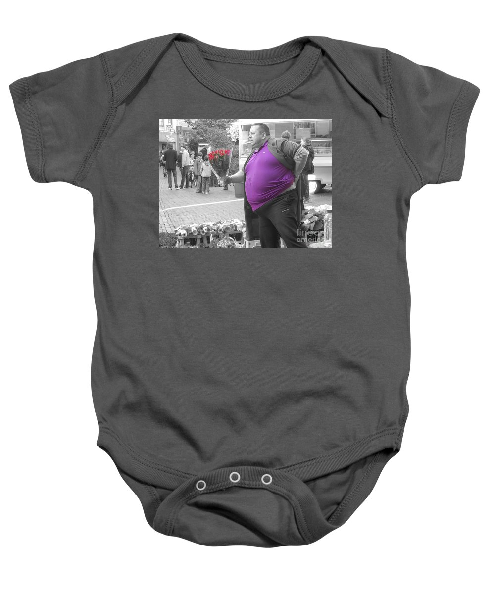 Flower Baby Onesie featuring the photograph The Flower Seller by Rob Hawkins