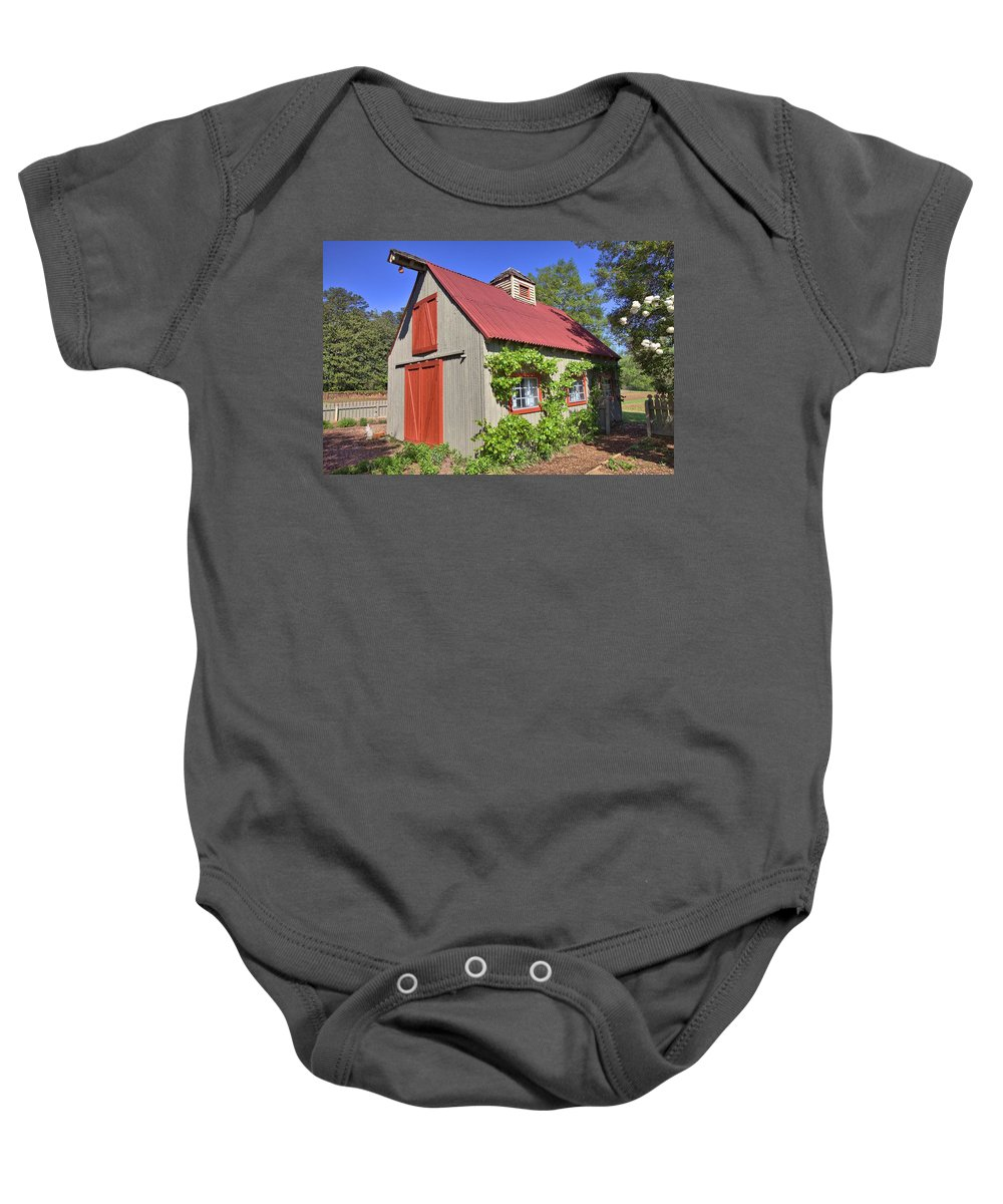 8295 Baby Onesie featuring the photograph The Garden Barn by Gordon Elwell
