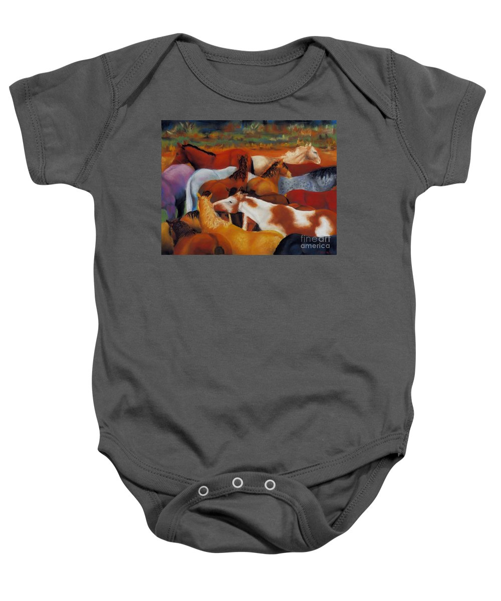 Herd Of Horses Baby Onesie featuring the painting The Gathering by Frances Marino