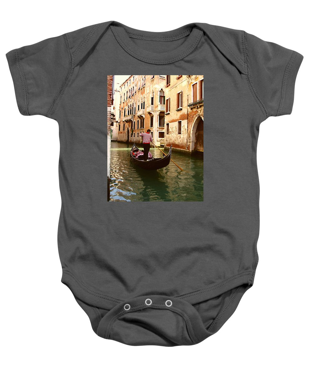 The Gondolier Baby Onesie featuring the photograph The Gondolier by Ellen Henneke