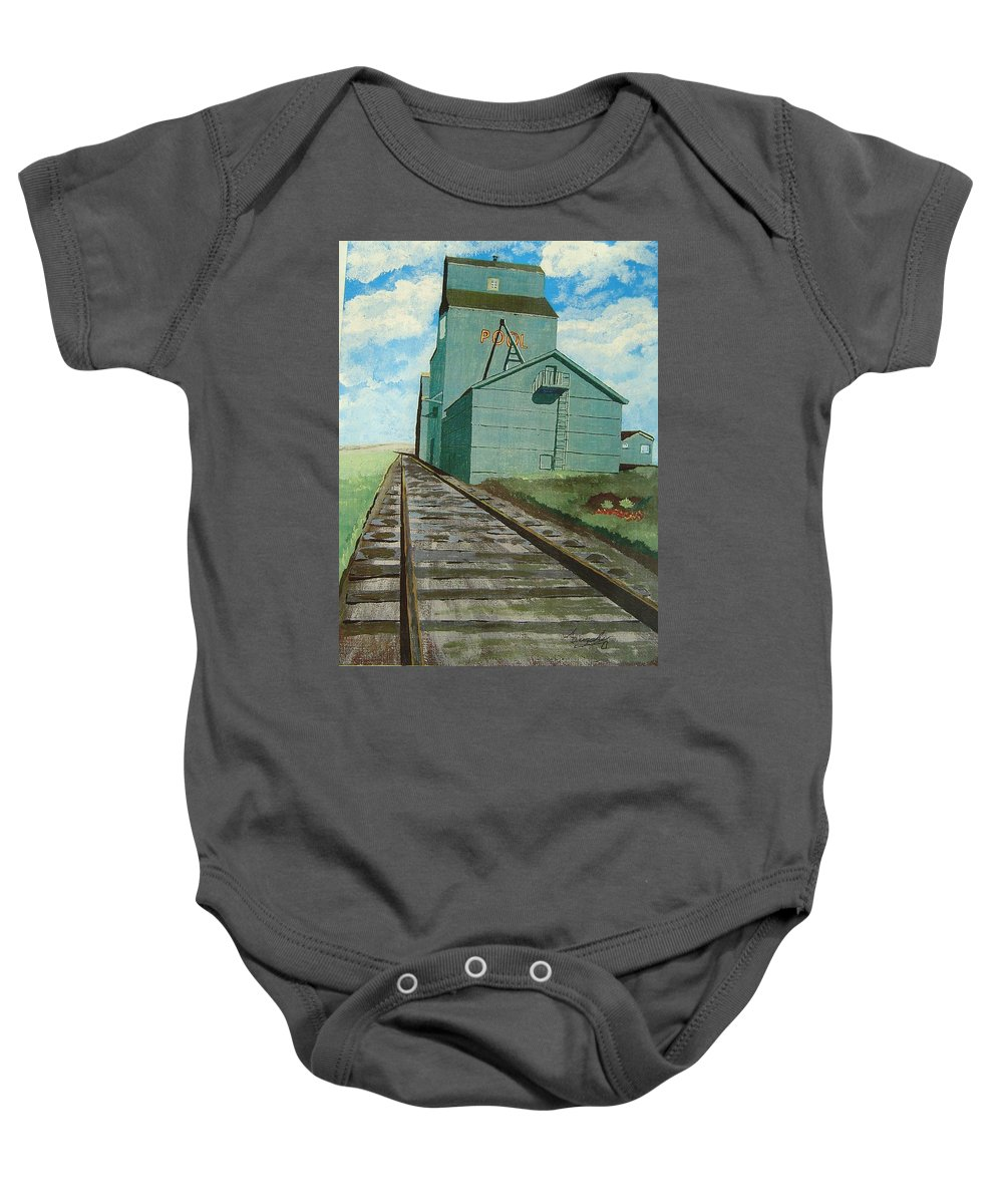 Elevator Baby Onesie featuring the painting The Grain Elevator by Anthony Dunphy
