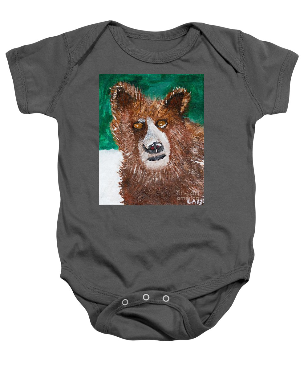 Bear Baby Onesie featuring the painting The Grizzly by Lloyd Alexander