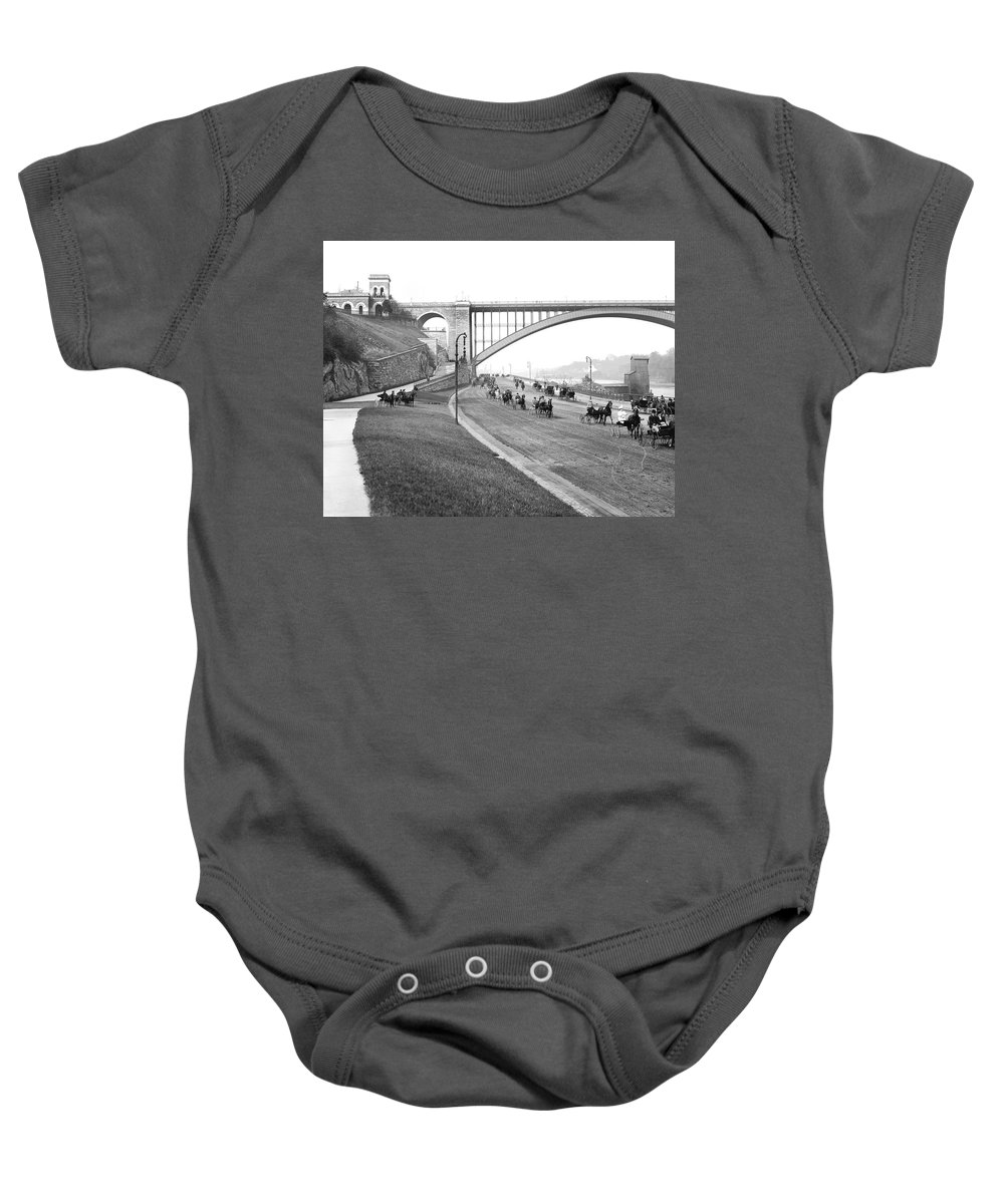 1905 Baby Onesie featuring the photograph The Harlem River Speedway by Detroit Publishing Company
