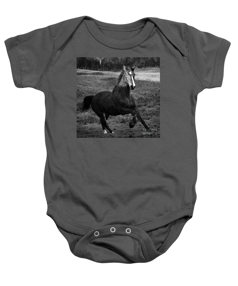 Horse Baby Onesie featuring the photograph The Horse by Angel Ciesniarska