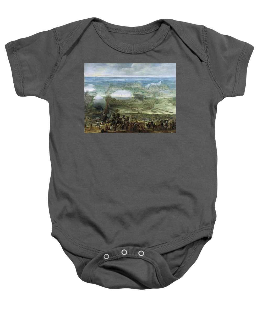 Pieter Snayers Baby Onesie featuring the painting The Infanta Isabella Clara Eugenia At The Siege Of Breda Of 1624 by Pieter Snayers