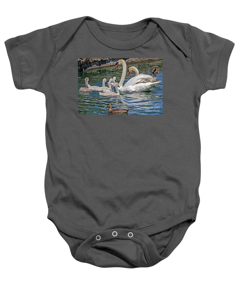 Kate Brown Baby Onesie featuring the photograph The Insular Family by Kate Brown