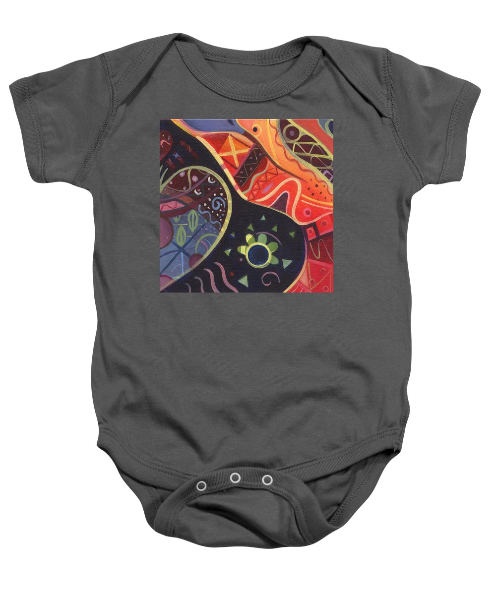 Abstract Baby Onesie featuring the painting The Joy Of Design II Part Two by Helena Tiainen