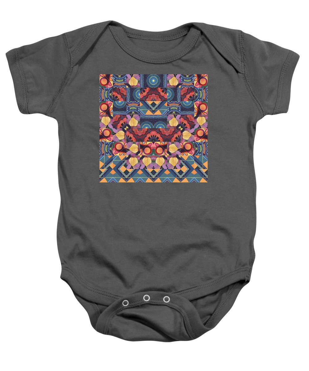 Abstract Baby Onesie featuring the painting The Joy Of Design Mandala Series Puzzle 5 Arrangement 1 by Helena Tiainen