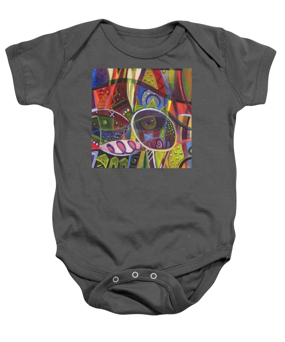 Abstract Baby Onesie featuring the digital art The Joy Of Design X Part 2 by Helena Tiainen
