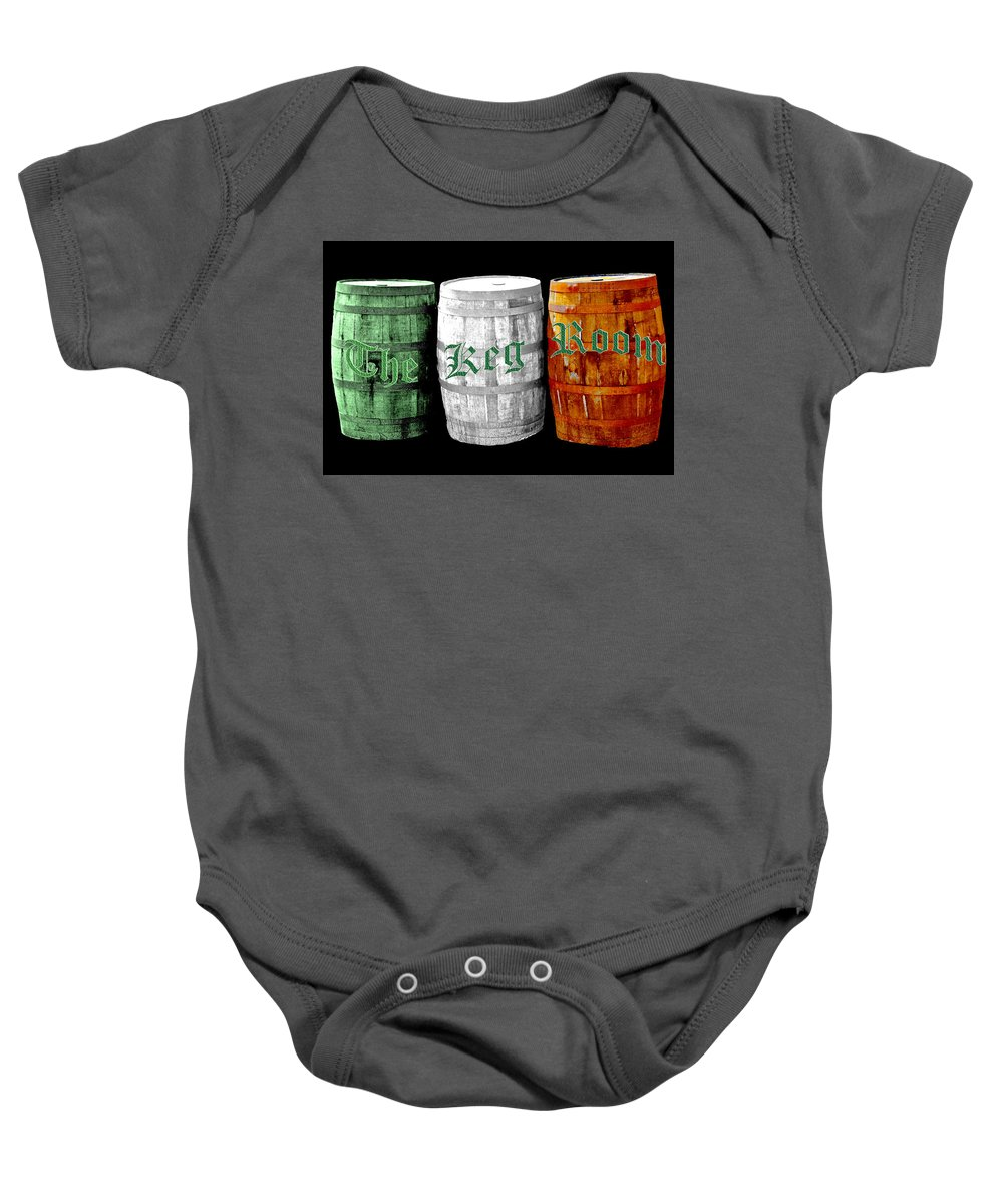 Beer Baby Onesie featuring the photograph The Keg Room Irish Flag Colors Old English Hunter Green Wave by LeeAnn McLaneGoetz McLaneGoetzStudioLLCcom