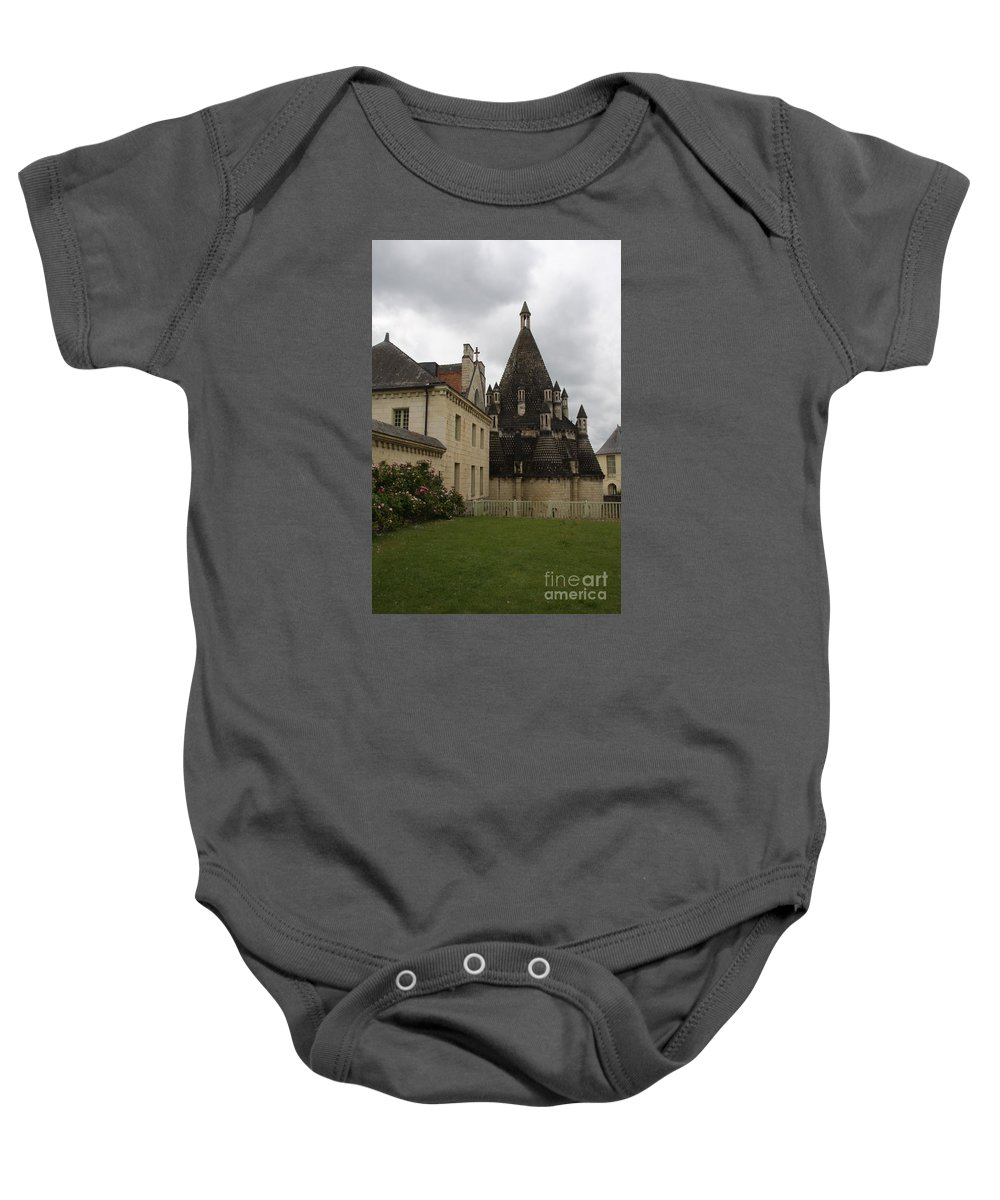 Kitchen Baby Onesie featuring the photograph The Kitchenbuilding - Abbey Fontevraud by Christiane Schulze Art And Photography