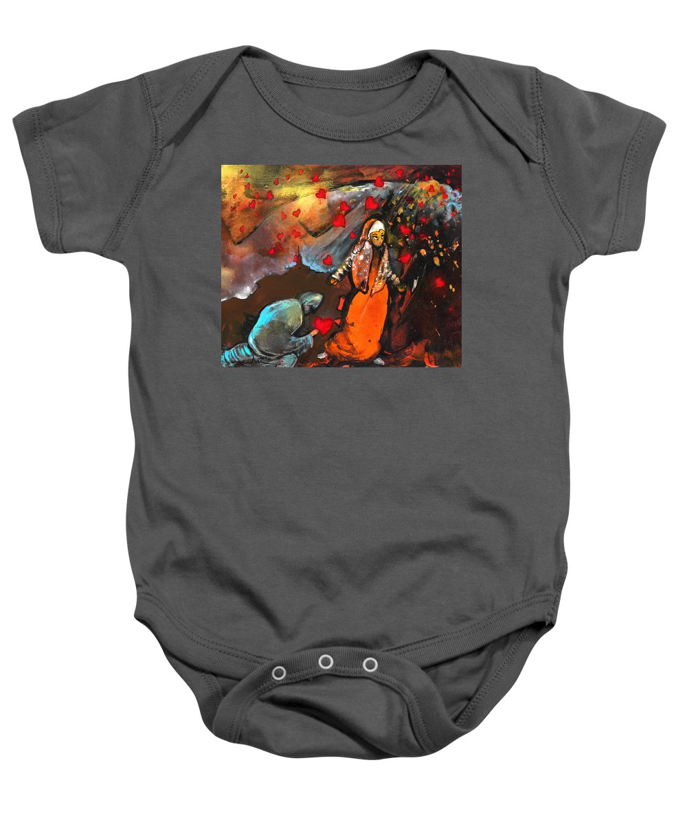 Valentine Baby Onesie featuring the painting The Knight Of Your Heart by Miki De Goodaboom