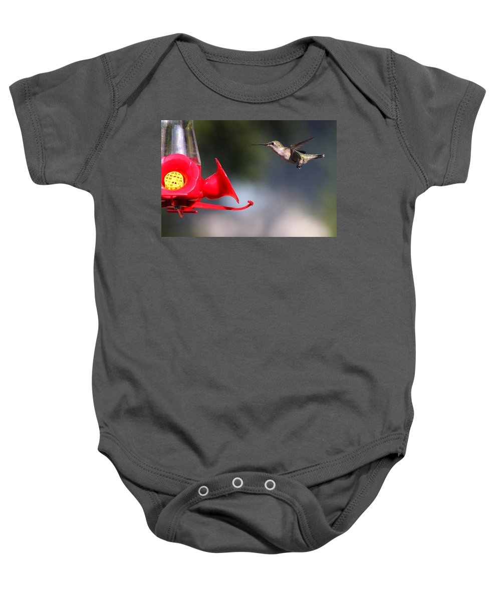 Birds Baby Onesie featuring the photograph The Landing by Reid Callaway