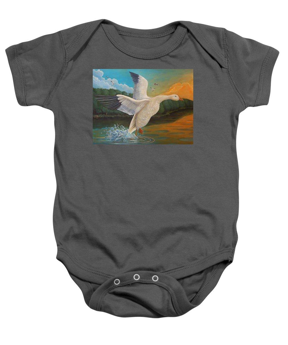 Rick Huotari Baby Onesie featuring the painting The Landing by Rick Huotari