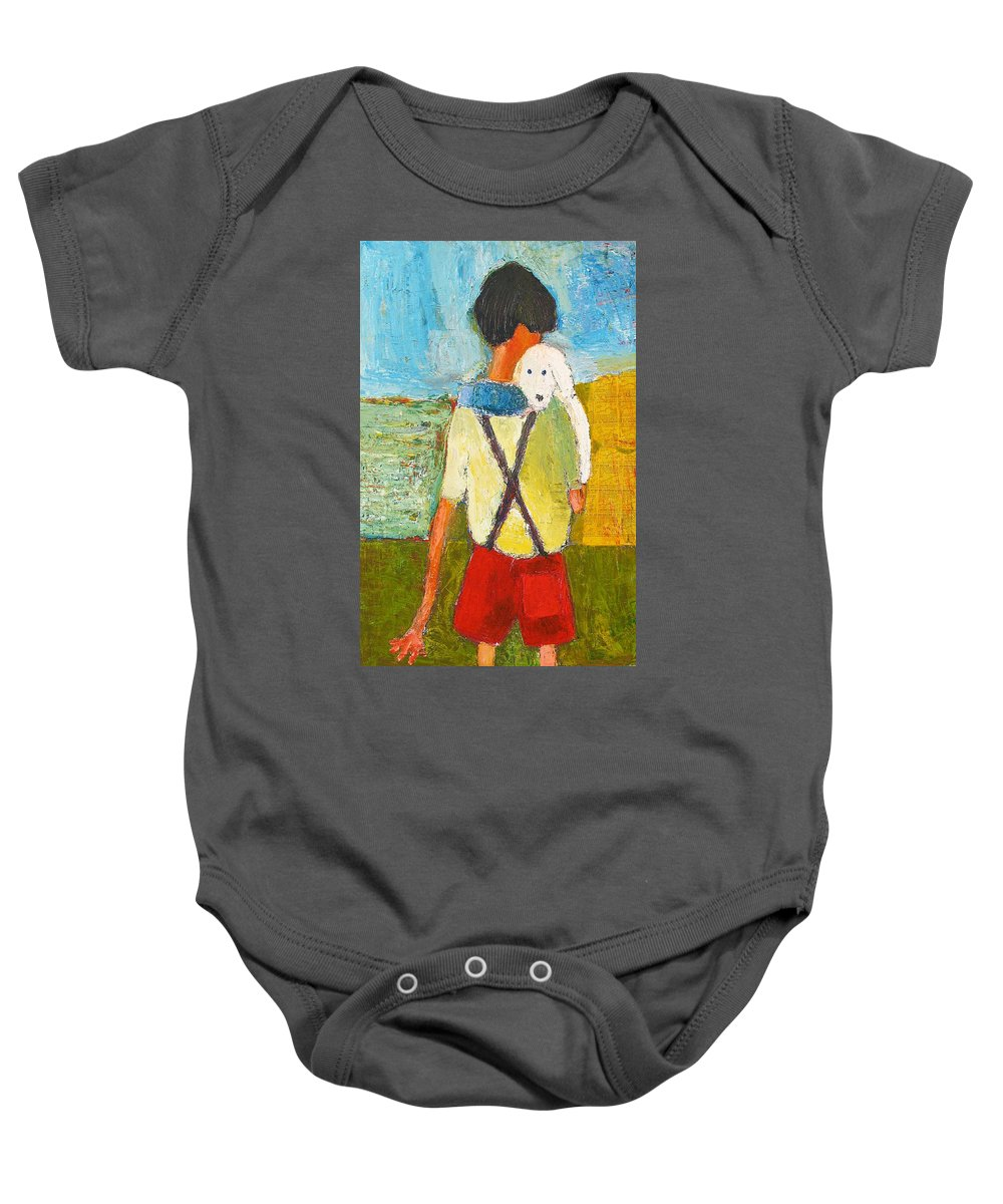 Abstract Baby Onesie featuring the painting The Little Puppy by Habib Ayat