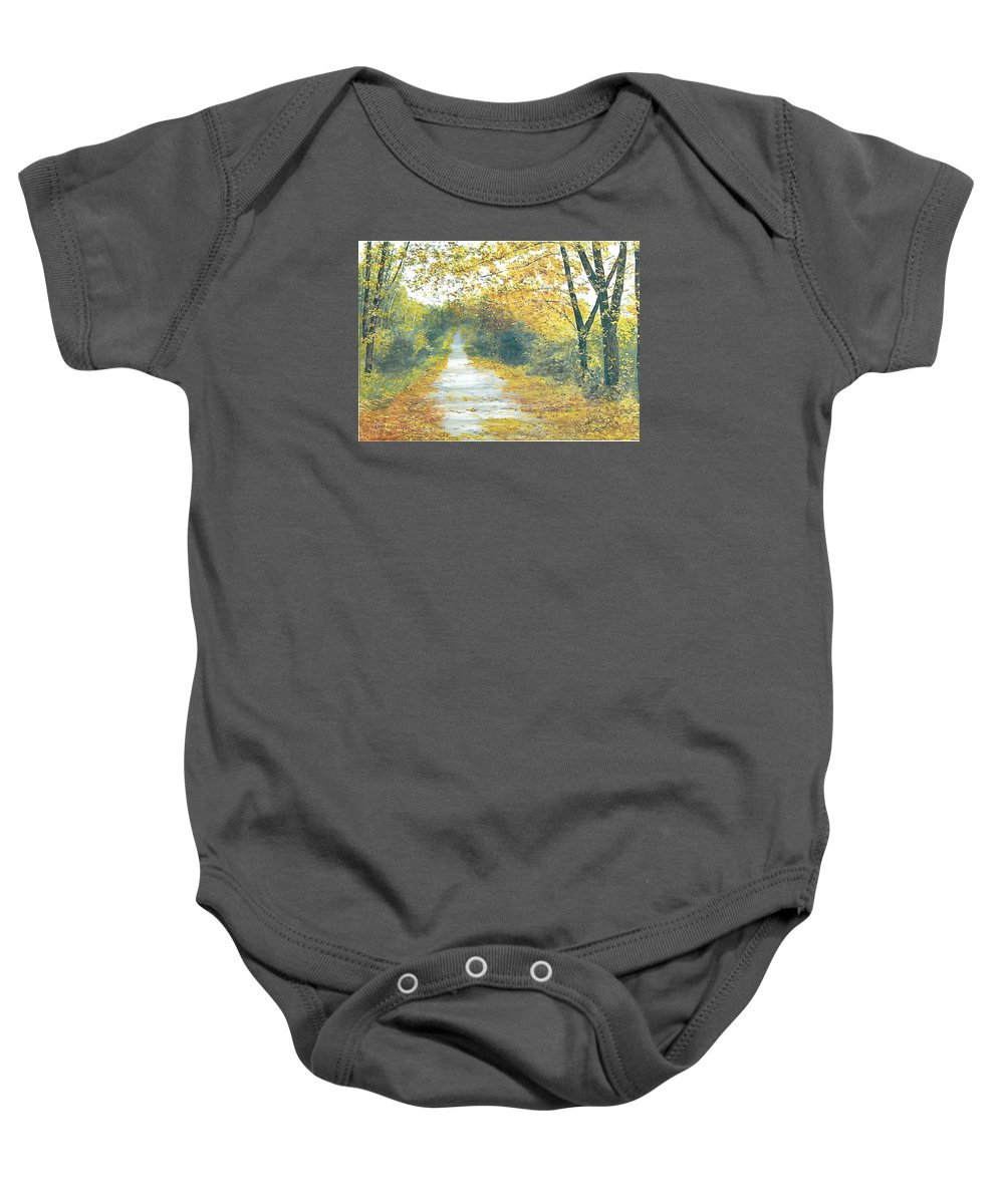 Kentucky Landscape Baby Onesie featuring the painting The Long Road Home - Oil by Gerry Furgason