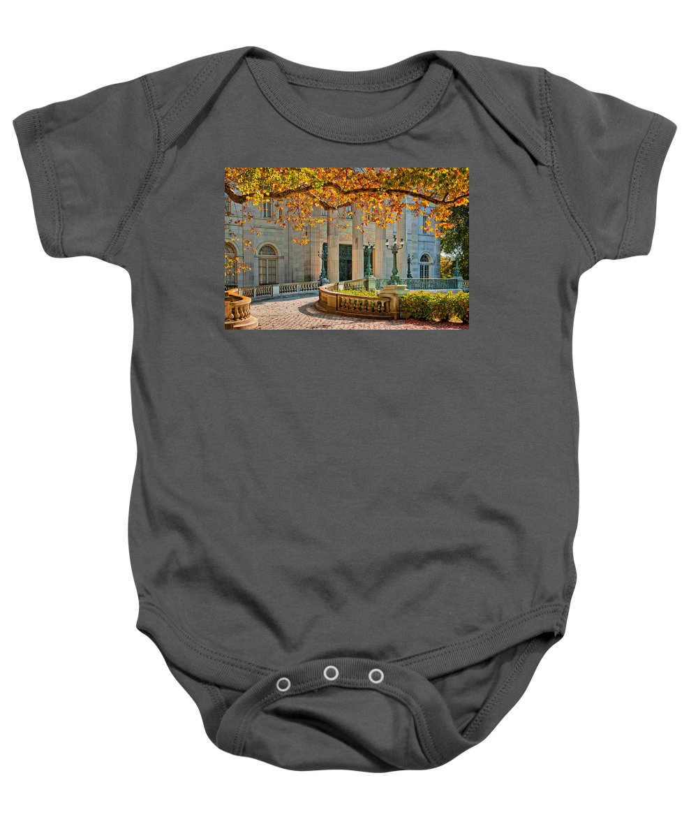 Newport Baby Onesie featuring the photograph The Marble House In Autumn by Mitchell R Grosky