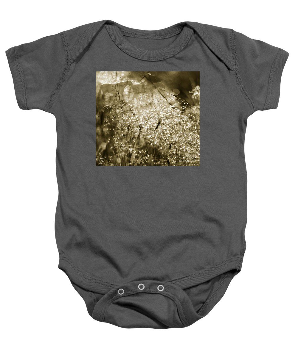 Dew Baby Onesie featuring the photograph The Morning Pearls by Angel Ciesniarska