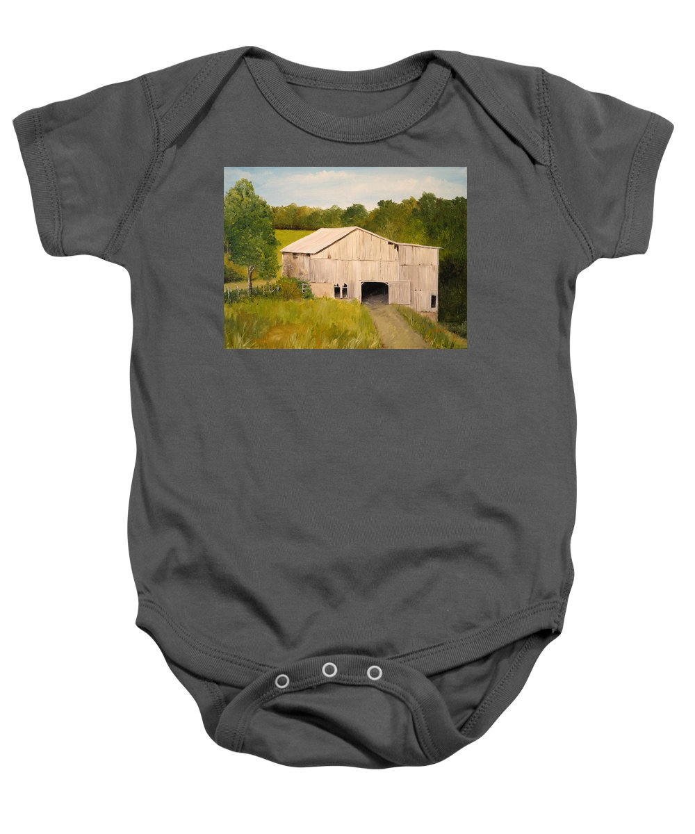 Landscapes Baby Onesie featuring the painting The Old Barn by Alan Lakin