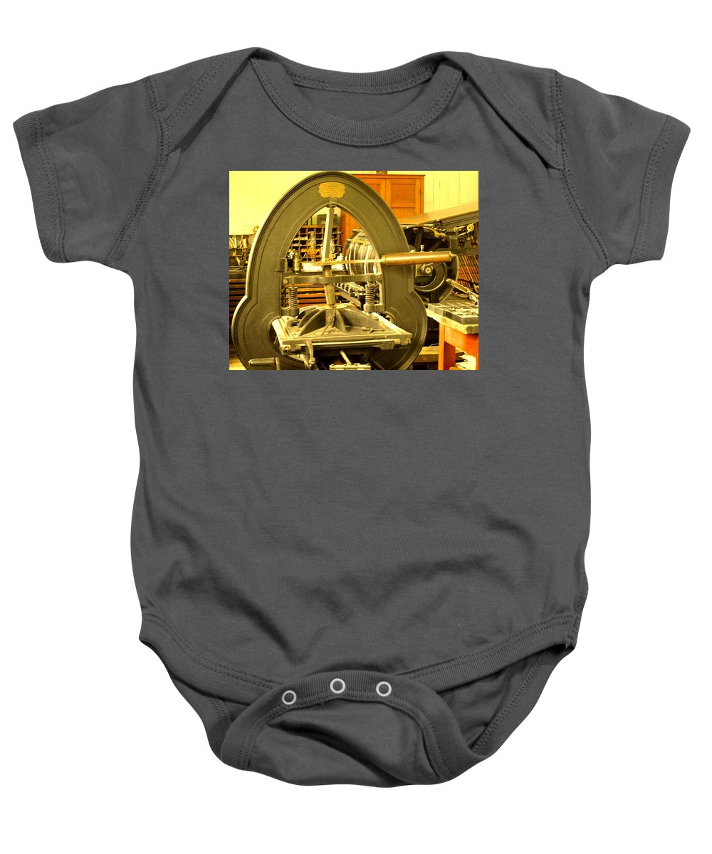 Pioneer Baby Onesie featuring the photograph The Old Printing Press by Ian MacDonald